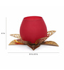 @ Home Red & Gold Glass Glossy Mosaic Large Votive Candle Stand
