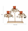 @ Home Red & Gold Iron Glossy Floral Candle Holder