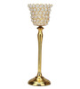 @ Home By Nilkamal Crystal Drops Cup Golden Medium Candle Holder