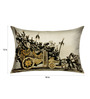 13 Odds Black & White Poly Taffeta 12 x 18 Inch Vintage Style Chariot Print with Gold Highlights Cushion Cover