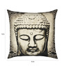 13 Odds Black & White Poly Taffeta 16 x 16 Inch Classic Buddha Face Print & Embroidery Cushion Cover