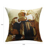 13 Odds Brown Poly Taffeta 16 x 16 Inch Classic Village Woman Print & Embroidery Cushion Cover