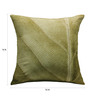 13 Odds Green Poly Taffeta 16 x 16 Inch Antique Leaf Texture Print & Embroidery Cushion Cover