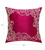 13 Odds Magenta Art Silk 12 x 12 Inch Heavy Filigree Frame Embroidered Cushion Cover