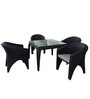 Four Seater Black Dining Set (1T + 4C) by Vetra