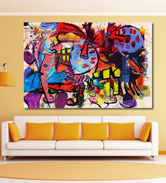 999Store Vinyl 72 X 0.4 X 48 Inch Modern Mixed Media Abstract Painting Unframed Digital Art Print - 1505212