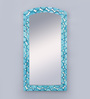 999Store Blue Wooden Hand Crafted Painted Decorative Wall Mirror