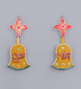 999Store Multicolour Wooden Handmade Diwali Shubh Labh with Bell & Flower Door Hanging - Set of 2