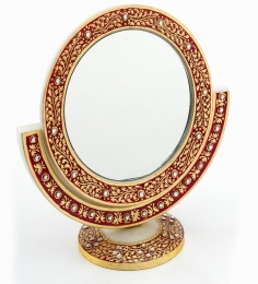 Aapno Rajasthan Gold Embossed Mirror With Marble Frame