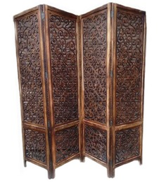 Aarsun Woods Designer Brown Wood Hand Carved Partition Screen - 1352585