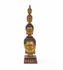 Aapno Rajasthan Brown & Gold Resin Awesome Four Head on Buddha Showpiece