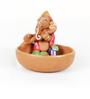 Aapno Rajasthan Multicolour Terracotta Ganesh Small Boat Showpiece