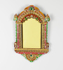 Aapno Rajasthan Multicolour Wood & Clay 13 x 1 x 8 Inch Traditional Palace Window Photo Frame