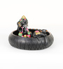 Aapno Rajasthan Pink & Black Terracotta Ganesh Showpiece with Black Finish