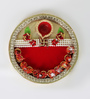 Aapno Rajasthan Red & Gold Wooden Ethnic Lace Work Pooja Thali