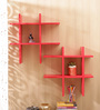 Aapno Rajasthan Red MDF Fantastic Tic Tac Shape Wall Shelves