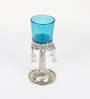 Aapno Rajasthan Silver & Blue Metal & Glass Palm Tree Design Candle Holder