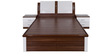 Abacus Queen Bed with Hydraulic Storage in White & Walnut Colour by Evok