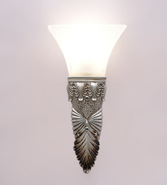 Aesthetics Home Solution Royal Silver & White Glass Upward Single Shade Wall Light