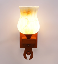 Aesthetics Home Solution Wooden Finished Designer Glass Wall Light - 1455142