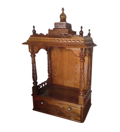 Afydecor Traditional Hand Carved Pooja Mandir With Carvings And Spiral Pillars