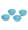 Aion Blue Ceramic Conical Dip Glazed Tea Light Holder - Set of 4