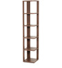 Alba Floor Standing Corner Display Shelf (6 Shelves) in Walnut Finish by Bluewud