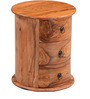 Fallon End Table With Three Drawers in Warm Walnut Finish by Woodsworth