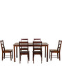 Alicia Six Seater Dining Set in Walnut Colour by CasaCraft