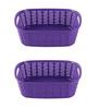 All Time Plastic Elegant Purple 2 L Cresta Rectangular Basket - Set of 2