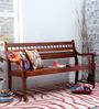 Maurya Handcrafted Bench in Honey Oak Finish by Mudramark