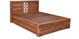 Annulus Queen Bed with Storage in Walnut Colour by @home