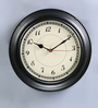 Anantaran Black Metal 10.5 Inch Round Vintage Stylish Wall Clock