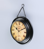 Anantaran Black Metal 26 x 7 x 26 Inch Indian Superior Ethnic Wall Clock