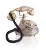 Anantaran Gold Yellow Brass Round Maharaja Hand Carved Telephone