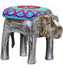 Animesh Handcrafted Embroidered Fabric Stool in Distress Finish by Mudramark