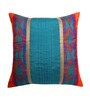 ANS Blue Poly Silk 16 x 16 Inch Cushion Cover