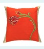 ANS Orange Polyester 16 x 16 Inch Tulip Embroidered Cushion Cover