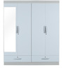 Apollo High Gloss Four Door Wardrobe with Mirror in White Colour by HomeTown