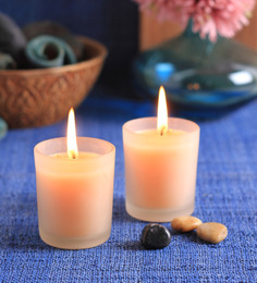 Aroma India Pine & Lemon Frosted Scented Votive Candle - Set Of 2