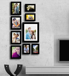 Art Street Black Fibre Wood Ultra Individual Wall Photo Frame - Set Of 9