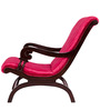 Armchair with Pink Upholstery & Brown Polish By Karigar