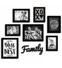 Art Street Black Fibre Wood Family Theme Quote & Family Plaque Photo Frame - Set of 8