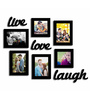 Art Street Black Fibre Wood Live-Love-Laugh Wall with Plague Photo Frame - Set of 7