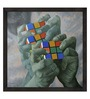 ArtCollective Rubik's Cube Canvas 40 x 40 Inch Framed Art Print