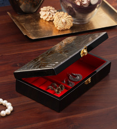 Asian Artisans Vietnamese Golden Leaves Grey Jewelry Box