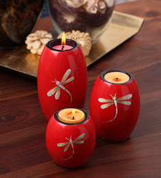 Asian Artisans Set Of 3 Oval Candle Stands With Dragon Fly-red
