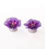 Asian Artisans Purple Wax Floral Candle - Set of 2