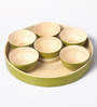 Asian Artisans Green Bamboo Bowls with Platter - Set of 6