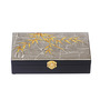 Asian Artisans Golden Leaves Wooden Grey Jewellery Box